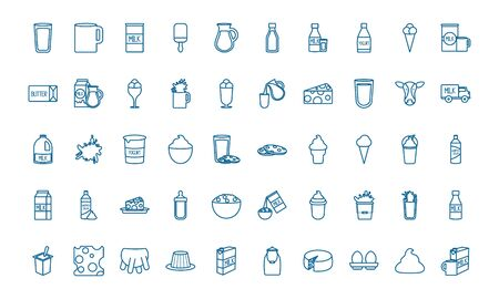 dairy line style icon set design, breakfast food fresh natural healthy product calcium and nature theme Vector illustration