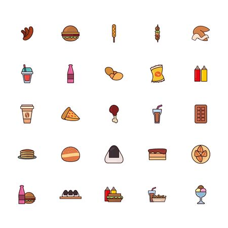 line and fill style icon set design, fast food eat restaurant menu dinner lunch cooking and meal theme Vector illustration Illustration