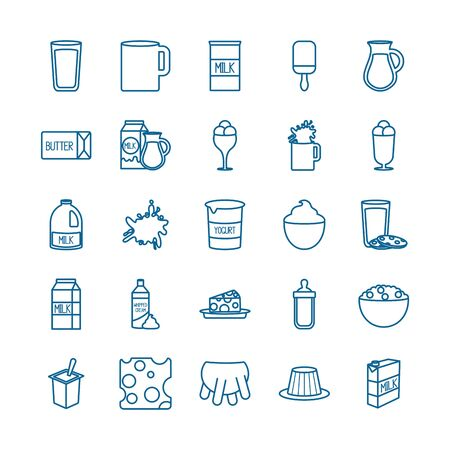 dairy line style icon set design, breakfast food fresh natural healthy product calcium and nature theme Vector illustration Vecteurs