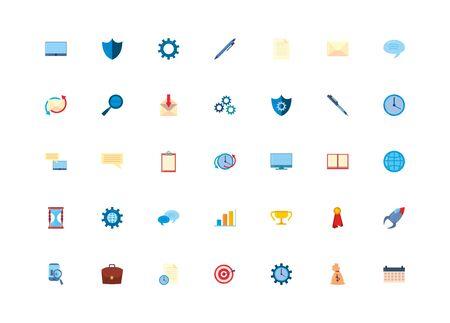 fill style icon set design, Office business workforce corporate job work occupation and communication theme Vector illustration