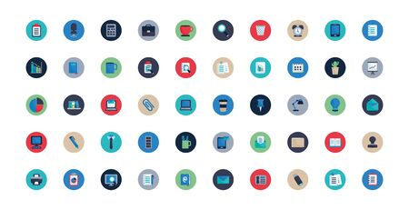 Flat block style icon set design, Office object workforce corporate job work occupation and communication theme Vector illustration