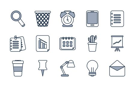 Half line half color style icon set design, Office object workforce corporate job work occupation and communication theme Vector illustration 일러스트
