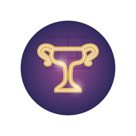Trophy neon style icon design, Winner first position competition success sport best leadership compete and challenge theme Vector illustration