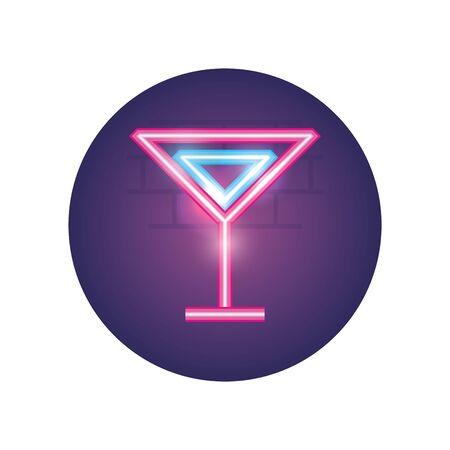 Cocktail neon style icon design, Alcohol drink bar beverage liquid menu surprise restaurant and celebration theme Vector illustration Illustration