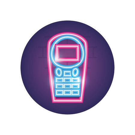 dataphone neon style icon of money financial item banking commerce market payment buy currency accounting and invest theme Vector illustration