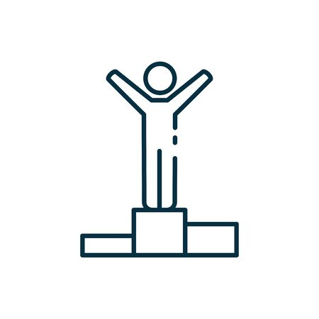 Avatar on podium line style icon design, Winner first position competition success sport best leadership compete and challenge theme Vector illustration