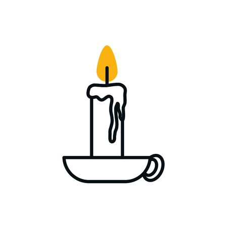 Candle half line half color style icon design, Fire flame candlelight light spirituality burn and decoration theme Vector illustration