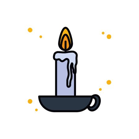 Candle line and fill style icon design, Fire flame candlelight light spirituality burn and decoration theme Vector illustration 向量圖像