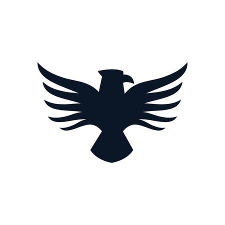 Eagle bird silhouette style icon design, animal feather predator wildlife flight beak natural and tattoo theme Vector illustration