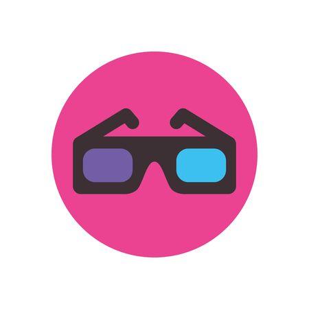 Movie glasses flat block style icon design, Cinema video film media entertainment show motion and presentation theme Vector illustration