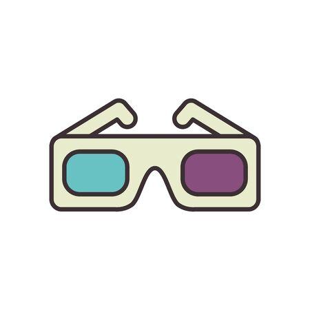 Movie glasses line fill style icon design, Cinema video film media entertainment show motion and presentation theme Vector illustration