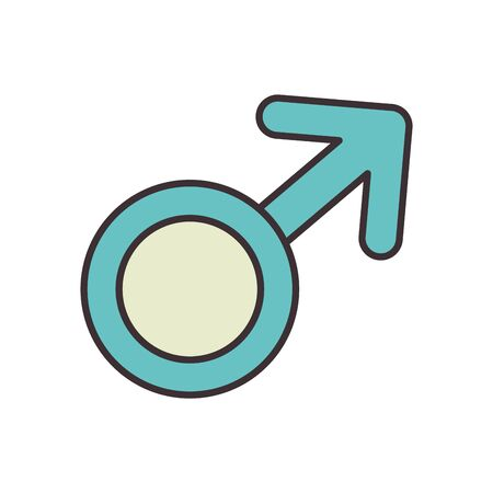 Male line fill style icon design of Gender people person washroom human symbol wc bathroom sex public and sexual theme Vector illustration Illustration