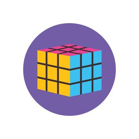 rubik cube flat block style icon set design, retro 90s leisure entertainment obsession hobby and lifestyle theme Vector illustration