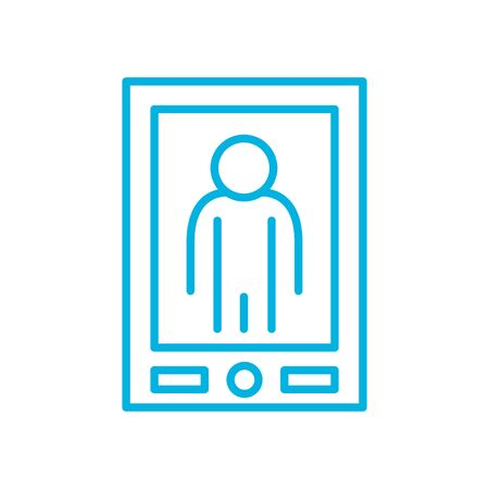 avatar inside smartphone line style icon design, futuristic virtual technology modern innovation digital entertainment tech and simulation theme Vector illustration Vettoriali