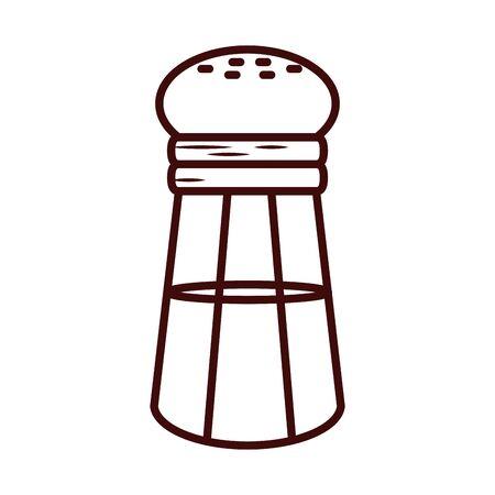 salt shaker line style icon design, Cook kitchen Eat food restaurant home menu dinner lunch cooking and meal theme Vector illustration Ilustración de vector