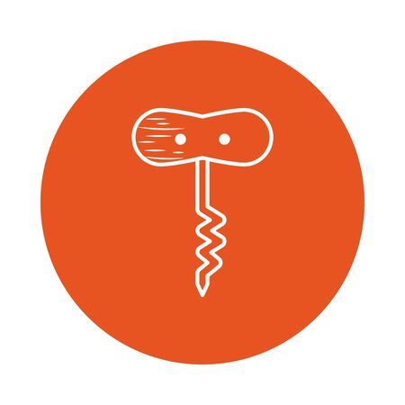 corkscrew block style icon design, Cook kitchen Eat food restaurant home menu dinner lunch cooking and meal theme Vector illustration