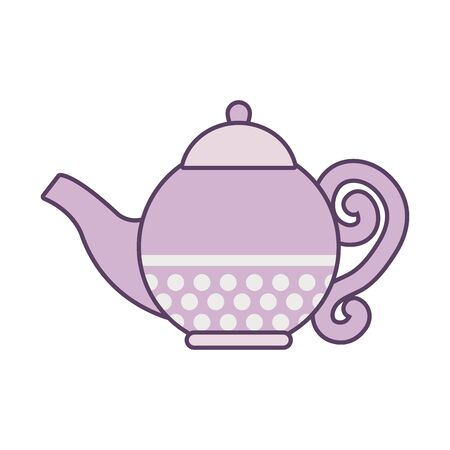 Tea kettle line and fill style icon design, Time drink breakfast beverage hot porcelain ceramic english and invitation theme Vector illustration