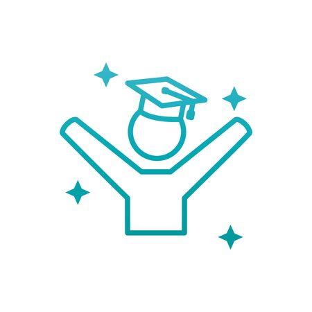 Avatar with graduation cap gradient style icon design, University education school college academic ceremony degree and student theme Vector illustration