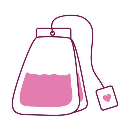 Tea bag half line half color style icon design, Time drink breakfast beverage hot porcelain ceramic english and invitation theme Vector illustration Illustration