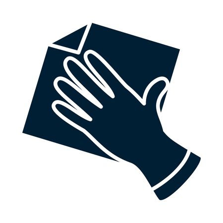 glove with rag silhouette style icon design, Cleaning service wash home hygiene equipment domestic interior housework and housekeeping theme Vector illustration