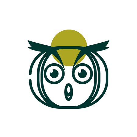 Owl half line half color style icon design, Biodiversity life natural nature and adorable theme Vector illustration