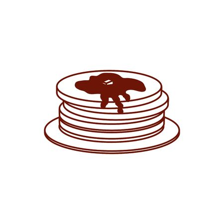 Sweet pancakes line style icon design, dessert food delicious sugar snack and tasty theme Vector illustration