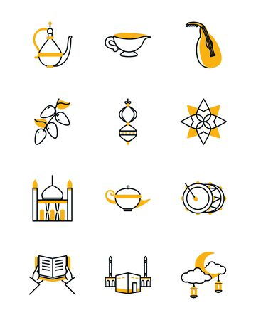 Ramadan half line half color style icon set design, Islamic muslim religion culture belief religious faith god spiritual meditation and traditional theme Vector illustration