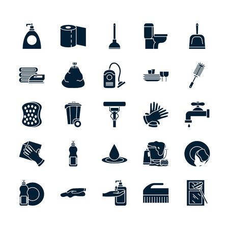 silhouette style icon set design, Cleaning service wash home hygiene equipment domestic interior housework and housekeeping theme Vector illustration
