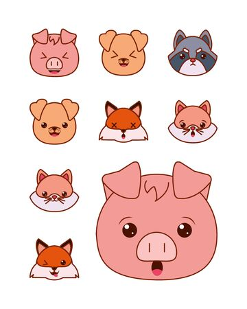 Cute kawaii cartoons line and fill style icon set design, Animals zoo life nature character childhood and adorable theme Vector illustration