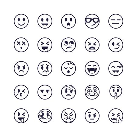 Emojis faces flat style icon set design, Cartoon expression cute emoticon character profile facial toy adorable and social media theme Vector illustration Ilustración de vector