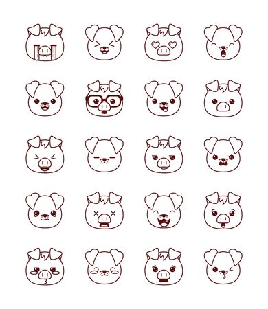 Cute kawaii pigs and dogs cartoons line style icon set design, Animals zoo life nature character childhood and adorable theme Vector illustration