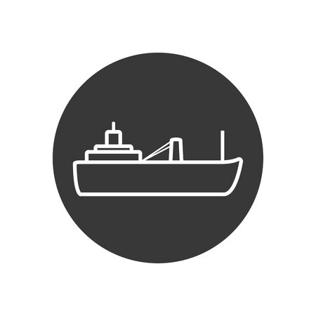 ship line block style icon design, Oil industry Gas energy fuel technology power industrial production and petroleum theme Vector illustration