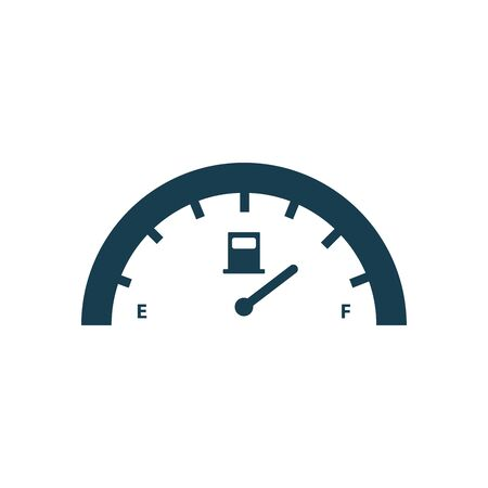gasoline gauge silhouette style icon design, Oil industry Gas energy fuel technology power industrial production and petroleum theme Vector illustration