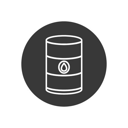 barrel line block style icon design, Oil industry Gas energy fuel technology power industrial production and petroleum theme Vector illustration