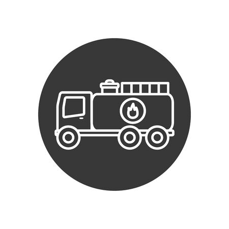 truck line block style icon design, Oil industry Gas energy fuel technology power industrial production and petroleum theme Vector illustration