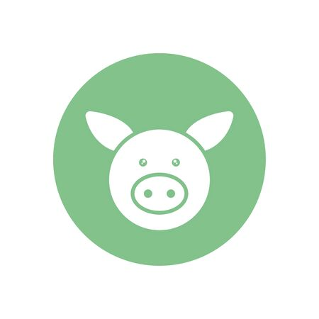 Cute pig cartoon silhouette block style icon design, Animal zoo life nature character childhood and adorable theme Vector illustration