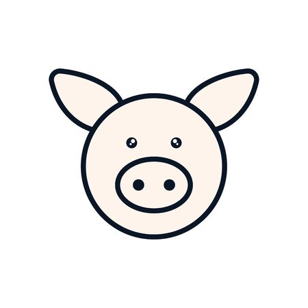 Cute pig cartoon line fill style icon design, Animal zoo life nature character childhood and adorable theme Vector illustration Illustration