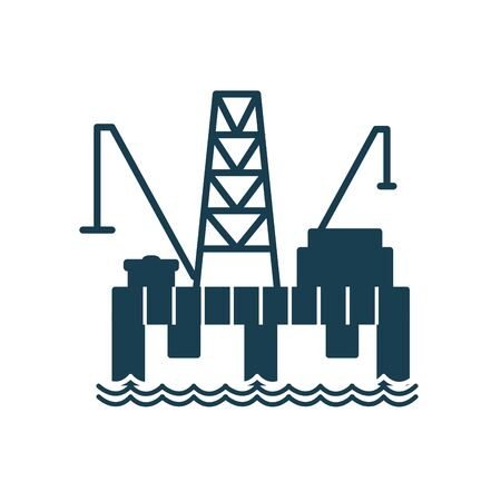 tower silhouette style icon design, Oil industry Gas energy fuel technology power industrial production and petroleum theme Vector illustration