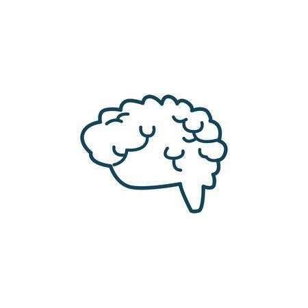 Human brain line style icon design, Organ mind science intelligence idea medical head and education theme Vector illustration