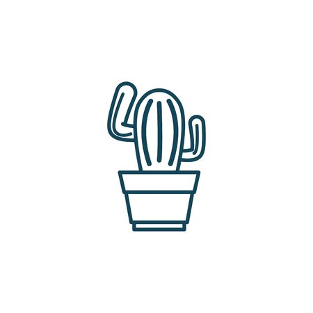 Cactus line style icon design, Plant desert nature tropical summer mexico and western theme Vector illustration