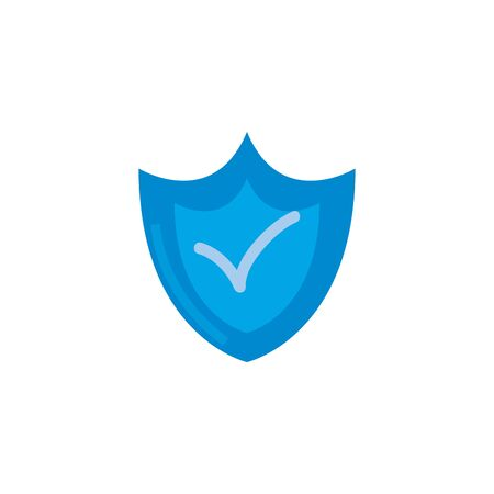 check mark inside shield fill style icon design of Security system warning protection danger web alert and safe theme Vector illustration Çizim