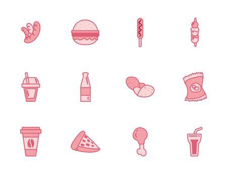 line style icon set design, fast food eat restaurant menu dinner lunch cooking and meal theme Vector illustration Ilustração