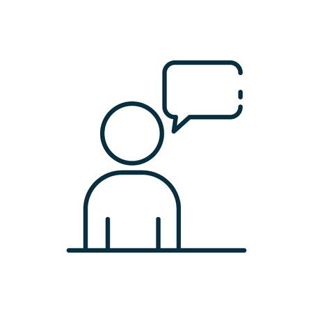 Avatar with communication bubble line style icon design, Message discussion conversation talk and technology Vector illustration Vectores