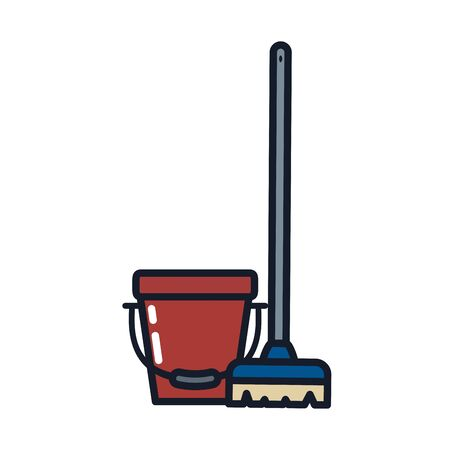 bucket and brush line and fill style icon design, Cleaning service wash home hygiene equipment domestic interior housework and housekeeping theme Vector illustration Illustration
