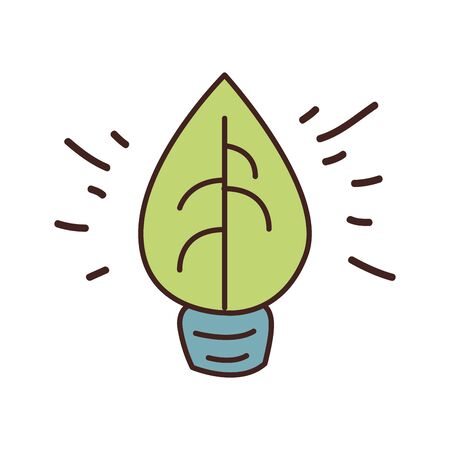 light bulb leaf fill style icon design, Ecology eco save green natural organic environment protection and care theme Vector illustration Illustration