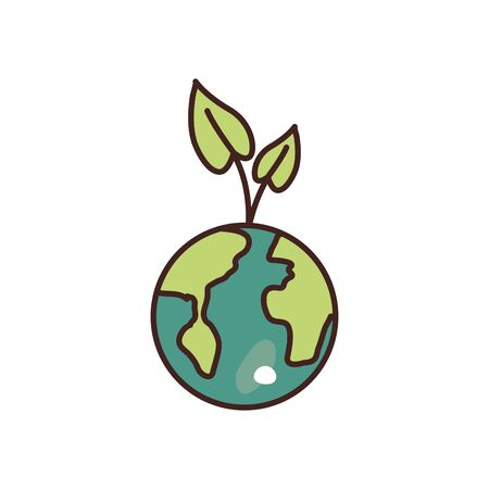 leaves over world fill style icon design, Ecology eco save green natural organic environment protection and care theme Vector illustration 向量圖像