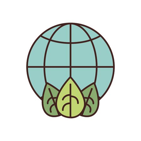 global sphere with leaves fill style icon design, Ecology eco save green natural organic environment protection and care theme Vector illustration Illustration