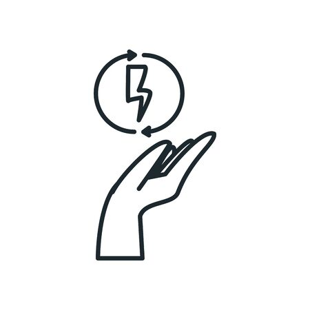 thunder inside arrows over hand line style icon design, Ecology eco save green natural organic environment protection and care theme Vector illustration