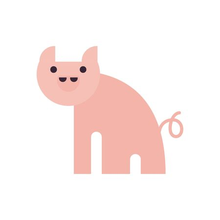 Cute pig cartoon fill style icon design, Animal zoo life nature character childhood and adorable theme Vector illustration Illustration