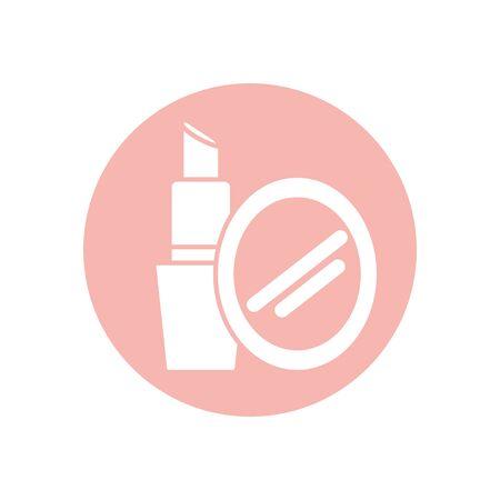 lipstick and mirror silhouette style icon design, Make up cosmetic fashion style glamour skin facial and glamour theme Vector illustration Vektoros illusztráció